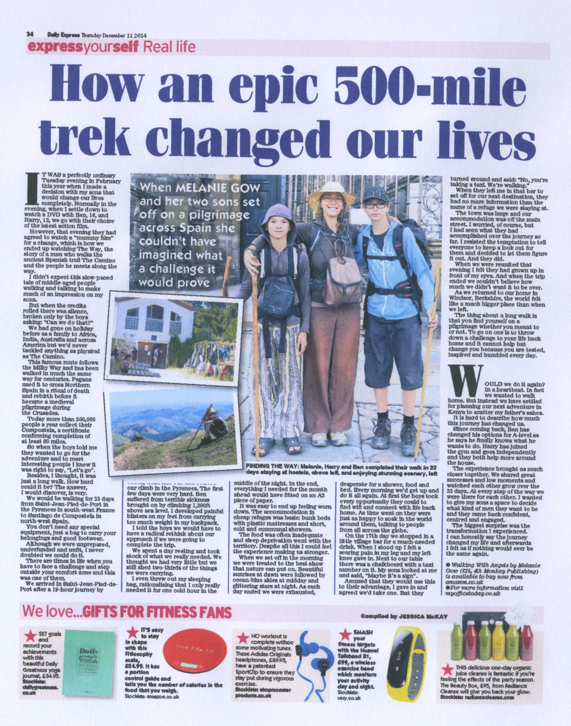 our 33 day, 800kilometre, walk across Spain was featured in the Daily Express national newspaper, in the Express yourself section